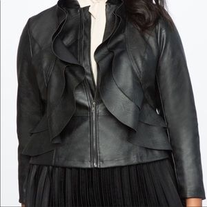 Jackets & Blazers - Black ruffle design jacket